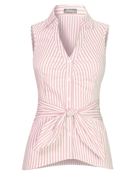 Womens Sleeveless Stripe V Neck Button Down Shirt With Waist Self Tie (WT4627)