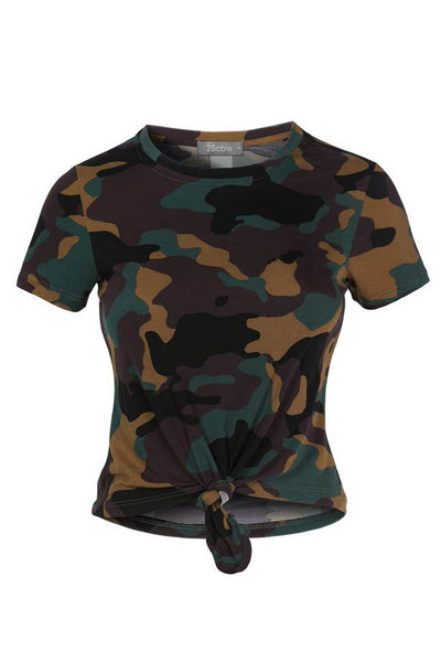 Womens Casual Round Neck Short Sleeve Camo Print Crop Top With Front Tie Detail (WT4628)