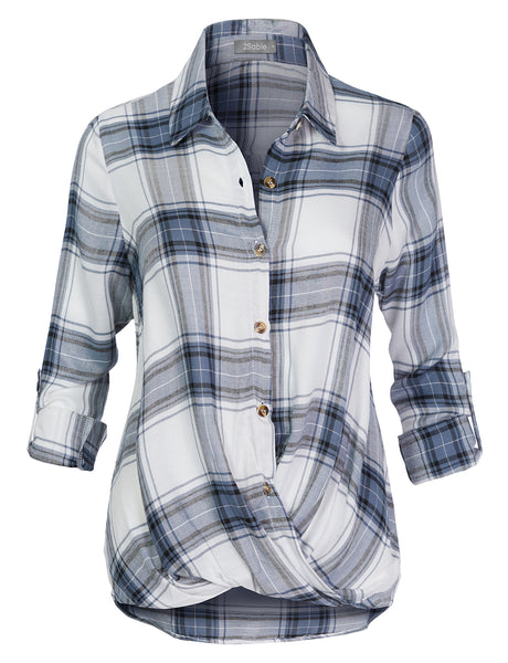 Womens Casual Long Sleeve Twisted Front Button Down Flannel Plaid Shirt Top (WT4632)