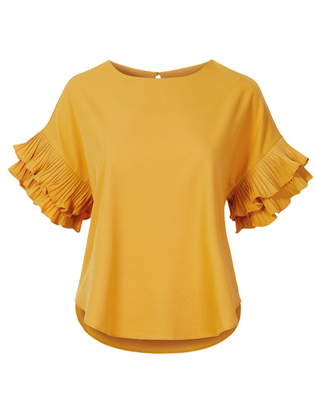 Womens Casual Loose Fit Ruffle Pleated Short Sleeve Blouse Top (WT4664)