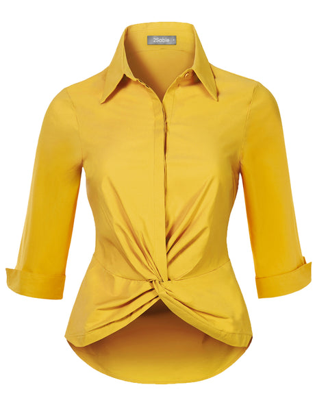 Womens Ultra Stretchy Twist Front 3/4 Sleeve Collared Button Down Shirt Top (WT4682)
