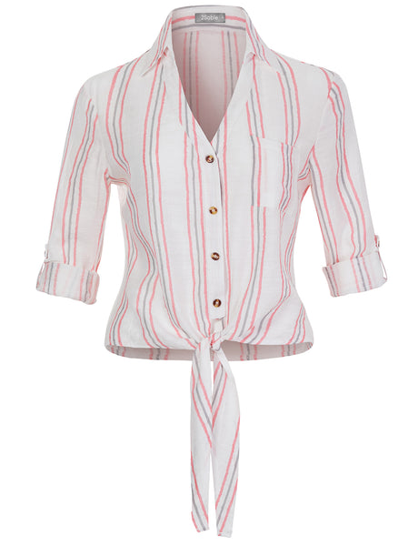 Womens Casual Button Down Long Sleeve Striped Blouse Top With Front Self Tie (WT4686)