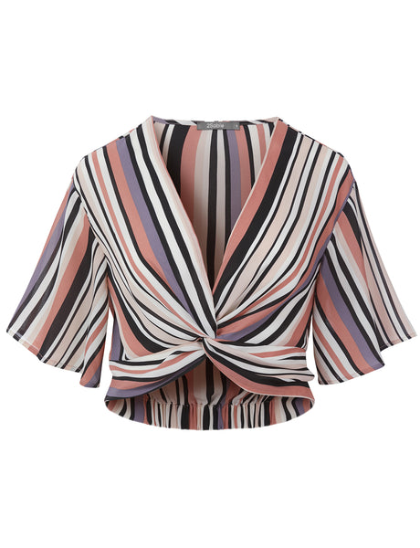 Womens Multi Stripe Twist Front Plunge V Neck Short Bell Sleeve Crop Blouse Top (WT4700)