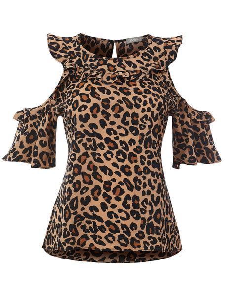 Womens Casual Loose Leopard Print Cold Shoulder Bell Sleeve Blouse Top (WT4714)