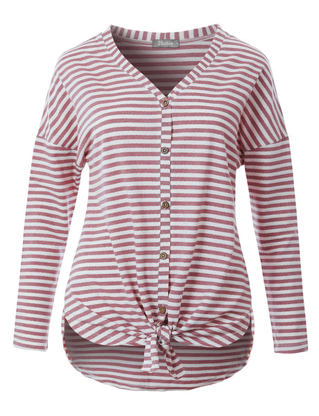Womens Casual Loose Fit Stripe V Neck Button Down Long Sleeve Sweater Tunic Top (WT4720)