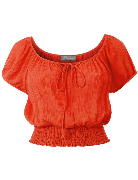 Womens Casual Short Sleeve Smocked Boho Crinkled Cropped Blouse Top (WT4729)