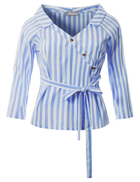 Womens Casual Relaxed Stripe V Neck  3/4 Sleeve Blouse Shirt With Self Waist Tie (WT4733)