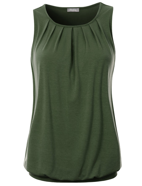 Womens Scoop Neck Loose Fit Sleeveless Pleated Front Tunic Blouse Top (WT4742)