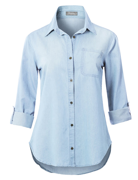 Womens Lightweight Long Sleeve Button Down Denim Shirt with Roll Up Sleeves (WT4747)