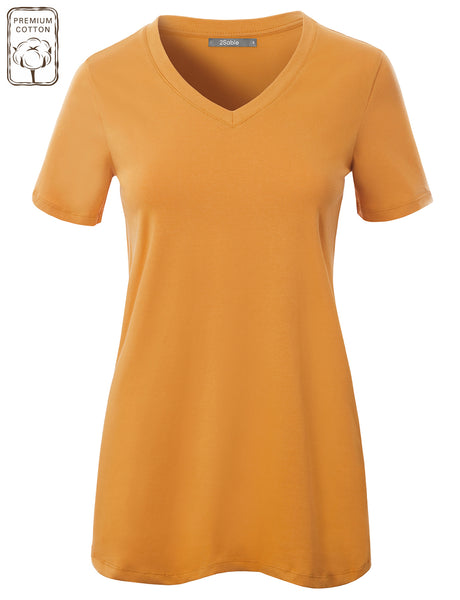 Womens Plus Size Casual Relaxed Fit V Neck Short Sleeve Stretchy T-shirt Top (WT4803P)
