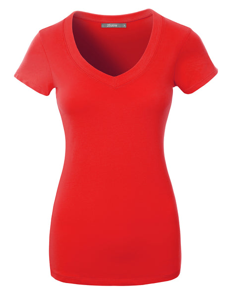 Womens Fitted V Neck Short Sleeve T-shirt Top with Stretch (WT4815)