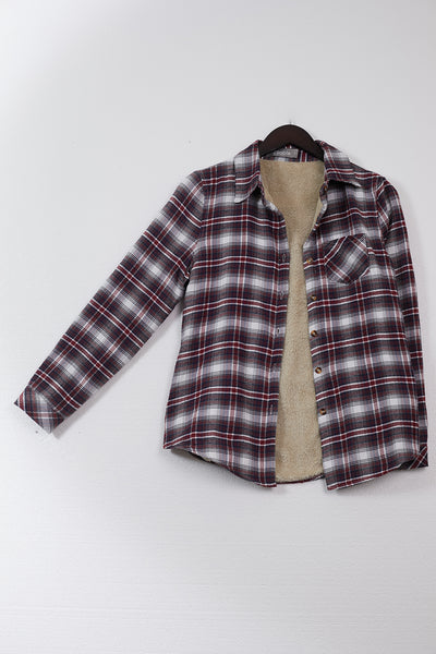 Womens Fleece Lined Button Down Flannel Plaid Shirt Top with Pocket (WT4875)