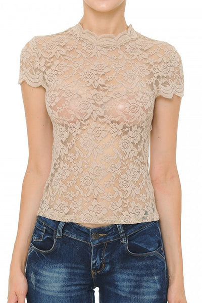 Womens Mock Neck Floral Lace Short Sleeve Blouse Top with Stretch (WT4908)