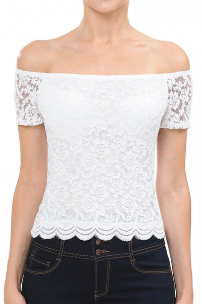 Womens Bodycon Off Shoulder Lace Top (WT4909-PREORDER 1/31/2020)