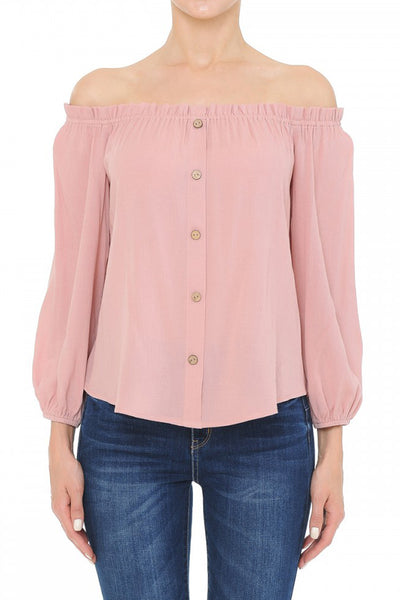 Womens Off Shoulder Long Sleeve Blouse Top (WT4913-PREORDER 1/24/2020)