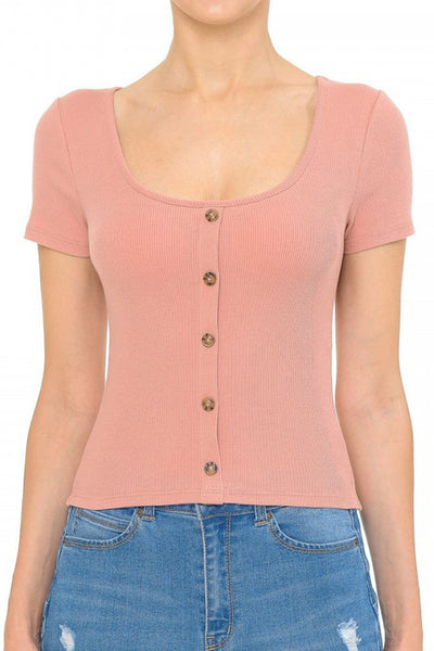 Womens Casual Lightweight Ribbed Short Sleeve Shirt Top (WT4916)
