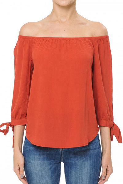Womens Flowy Loose Fit Off Shoulder 3/4 Sleeve Blouse Top (WT4934)