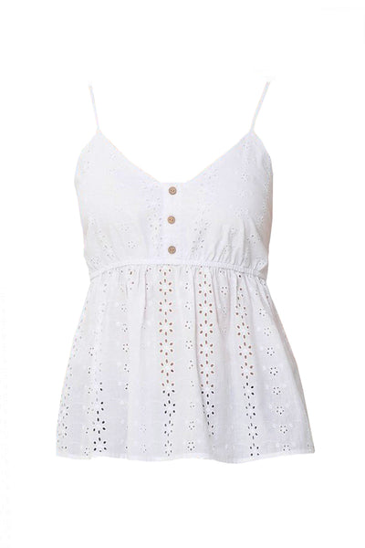 Womens Embroidered Babydoll V Neck Tank Top (WT4937-PREORDER 2/24/20)