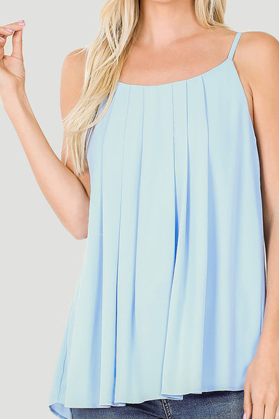 Womens Pleated Scoop Neck Chiffon Tank Top (WT4945)
