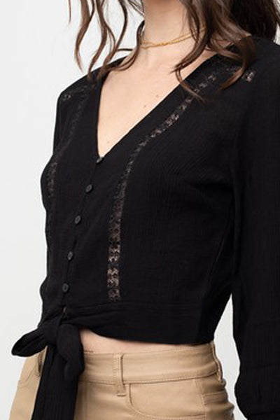 Womens Long Sleeve Button Front Waist Tie Cropped Shirt Top (WT4959)