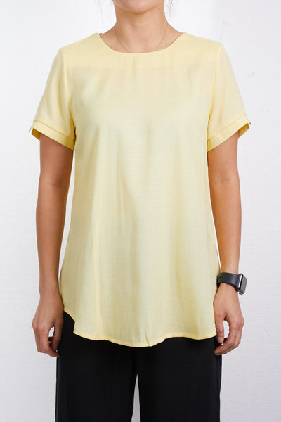 Womens Relaxed Round Neck Short Sleeve Blouse Top (WT4974)