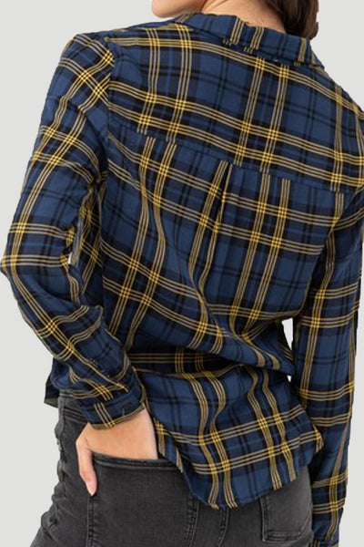 Womens Relaxed Twisted Knotted Front Long Sleeve Plaid Shirt Top (WT4985)