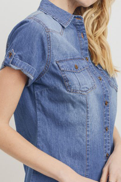 Womens Button Down Cuffed Short Sleeve Chambray Denim Shirt with Front Pockets (WT4991-PREORDER 05/01)