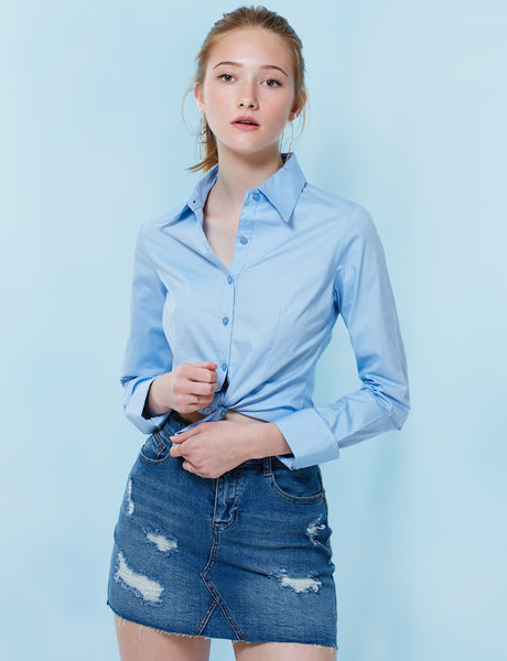Womens Lightweight Button Down Shirt with Stretch (WT573)