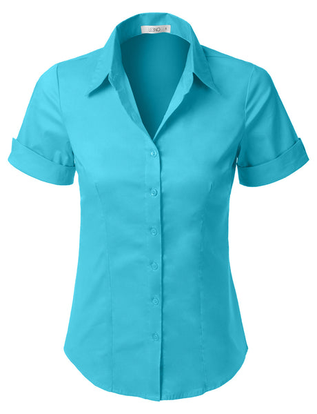 Womens Short Sleeve Button Down Shirt with Stretch (WT575)