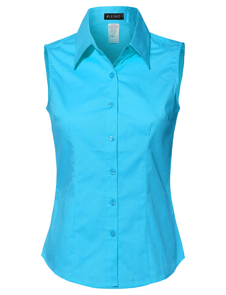Womens Lightweight Cotton Sleeveless Button Down Shirt (WT691)