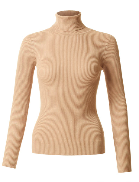 Womens Fitted Long Sleeve Turtleneck Sweater (WT941)