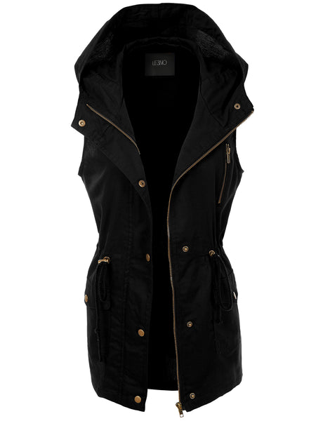 Womens Zip Up Anorak Military Cargo Vest with Hoodie (WV3030)