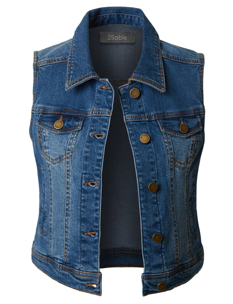 Womens Plus Size Vintage Distressed Sleeveless Cropped Denim Vest (WV3480P)