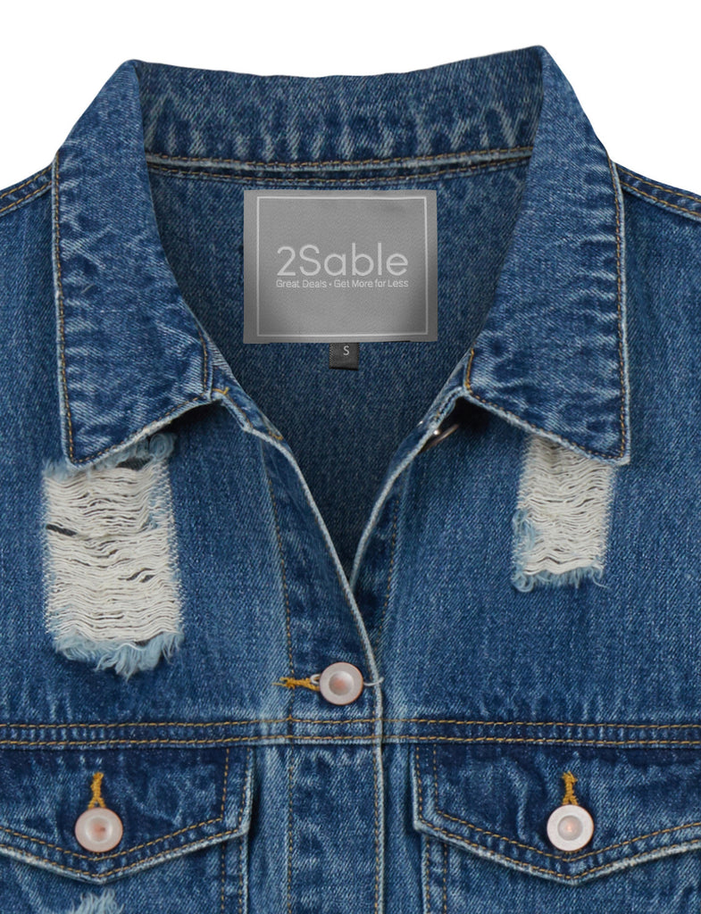 8aa563e4a3638 LE3NO Womens Vintage Oversized Distressed Ripped Sleeveless Long Denim Vest  (WV3489)