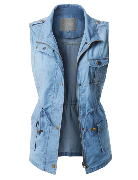 Womens Lightweight Sleeveless Denim Anorak Military Vest with Waist Drawstring (WV3497)