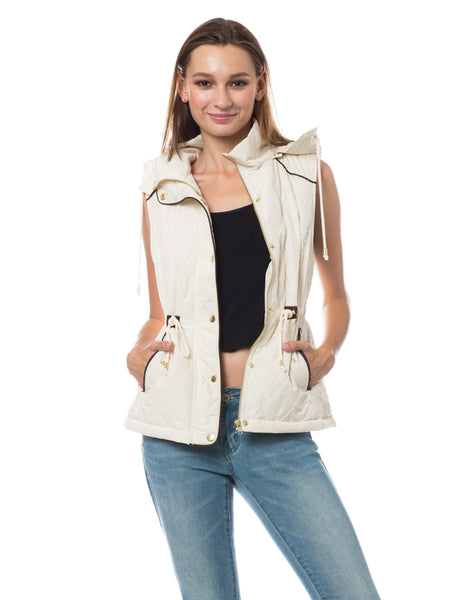 Womens Sherpa Lined Quilted Puffer Vest with Detachable Hoodie (WV3592)
