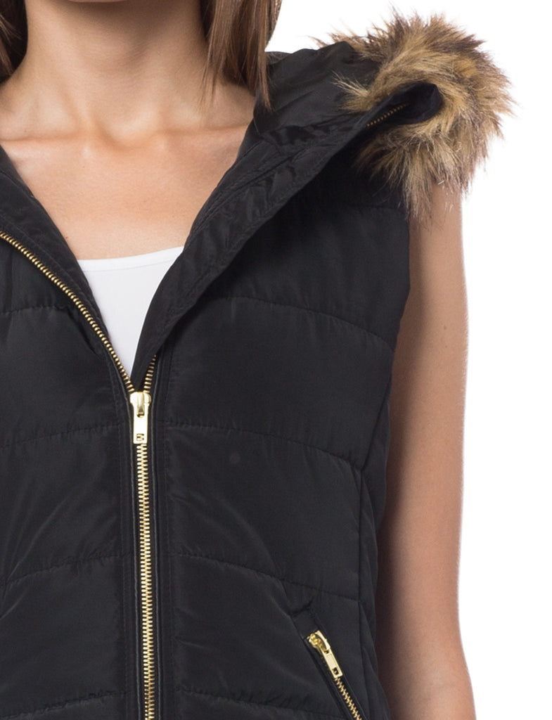 bd67608d79d2d LE3NO Womens Fully Lined Quilted Puffer Sleeveless Vest with Faux Fur Hoodie  (WV3593)