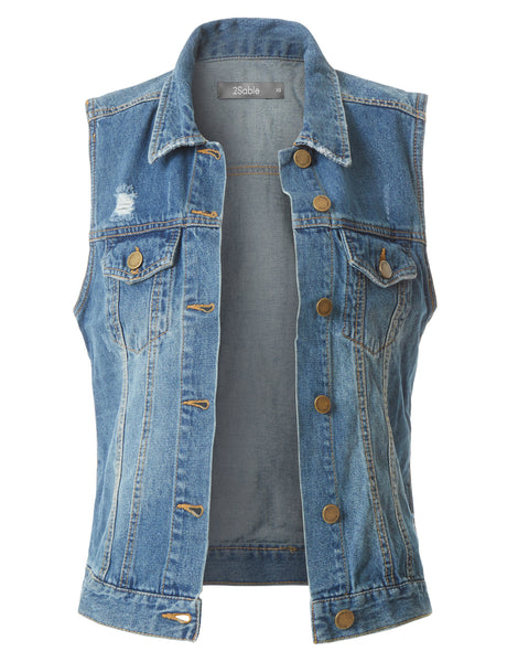 Womens Fitted Distressed Cropped Denim Vest Jacket with Pockets (WV3600)