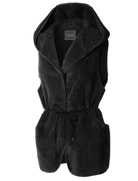 Womens Oversized Soft Fleece Long Hoodie Vest with Pockets (WV3618)