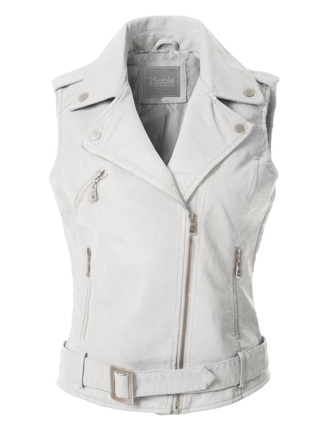 Womens Faux Leather Moto Biker Sleeveless Vest with Pockets (WV3628)