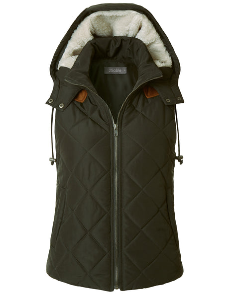 Womens Lightweight Fully Lined Quilted Puffer Vest with Fleece Hoodie (WV3704)