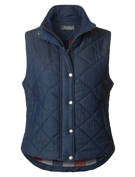 Womens Lightweight Fully Lined Quilted Puffer Sleeveless Denim Vest with Pockets (WV3706)