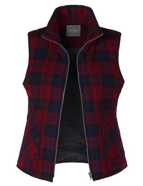 Womens Lightweight Plaid Quilted Padded Puffer Sleeveless Vest with Pockets (WV3707)