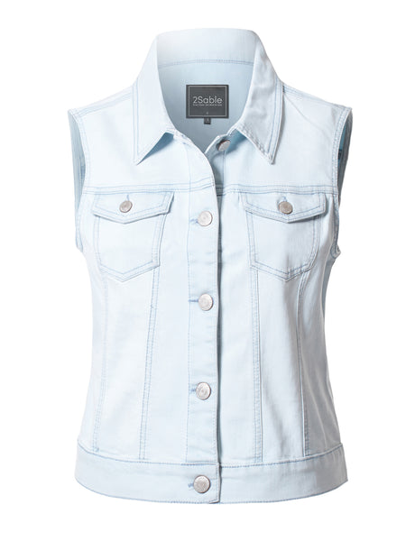 Womens Fitted Washed Button Down Denim Vest Jacket with Chest Pockets (WV3758)