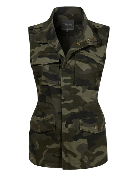 Womens Plus Size Safari Camo Drawstring Waist Military Anorak Vest with Pockets (WV4055-P)