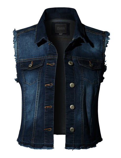 Womens Basic Distressed Frayed Sleeveless Button Up Denim Vest with Pockets (WV4161)
