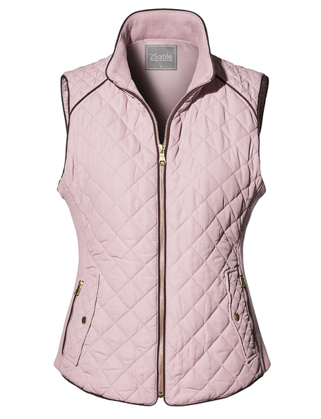 Womens Lightweight Basic Zip Up Fully Lined Quilted Puffer Vest with Pockets (WV4207)