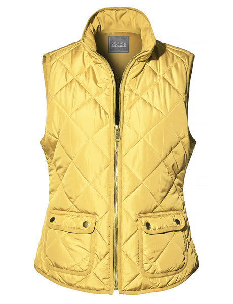 Womens Casual Quilted Stand Collar Zip Up Padded Puffer Vest with Pockets (WV4208)
