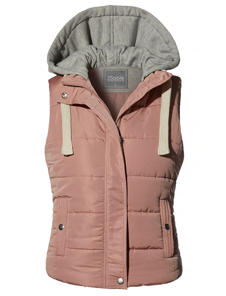 Womens Casual Quilted Fully Lined Padded Puffer Vest with Hoodie (WV4209)