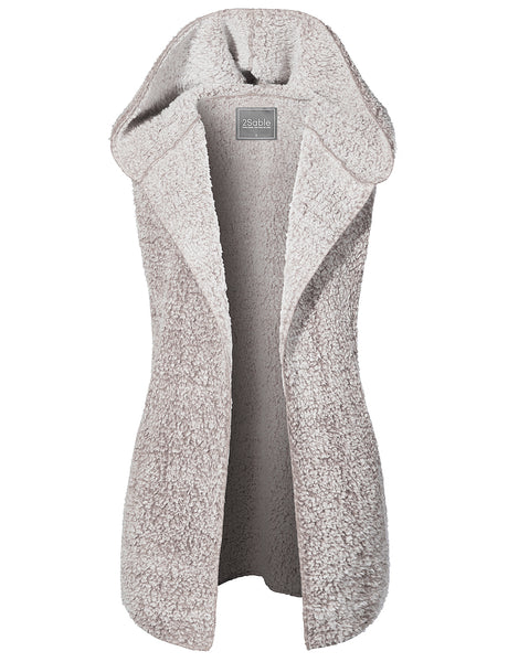 Womens Oversized Warm Faux Fur Sleeveless Open Front Hoodie Vest with Pockets (WV4220)